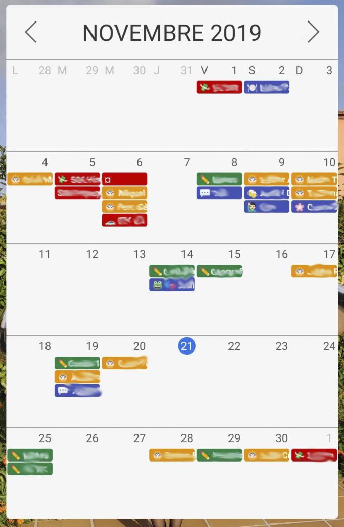 widget calendari amb emojis